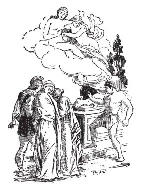 When she was about to be slain at the altar, Artemis intervened and carried her off in a cloud to be priestess of her temple in Tauris (the Crimea), while a stag was substituted in the sacrifice, vintage line drawing or engraving illustration.
