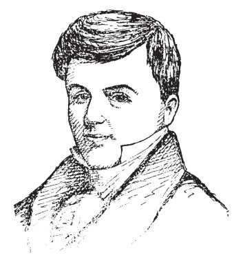 Jonathan Jennings, 1784-1834, he was the first governor of Indiana and a nine-term congressman from Indiana, vintage line drawing or engraving illustration