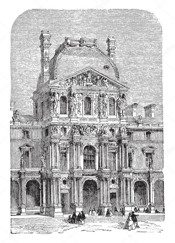 The Turgot Pavilion Part Of The Louvre Palace Located Along The Seine River In Paris Built In The New Louvre Section Vintage Line Drawing Or Engraving Illustration Premium Vector In Adobe