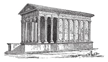 A Roman Temple, Located at Nimes in southern France, known as La Maison Carree, the square house, vintage line drawing or engraving illustration.