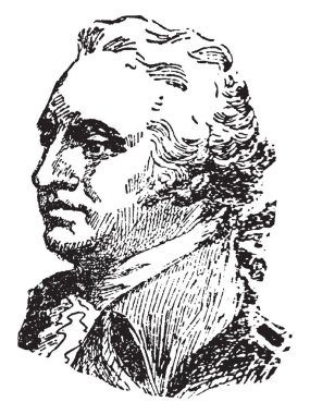 Anthony Wayne, 1745-1796, he was a United States army officer, statesman and brigadier general, vintage line drawing or engraving illustration