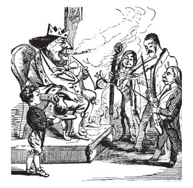 Old King Cole, this scene shows the king sitting on chair and smoking pipe, three fiddlers playing violins in front of him, boy carrying jar in tray, vintage line drawing or engraving illustration
