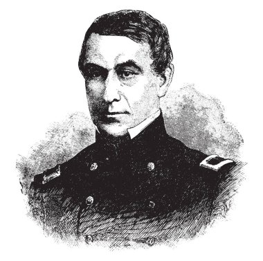 Major Robert Anderson, 1805 - 1871, he was a U.S. army officer who defied the confederacy and upheld union honour in the first battle of the American civil war at fort Sumter in 1861, vintage line drawing or engraving illustration