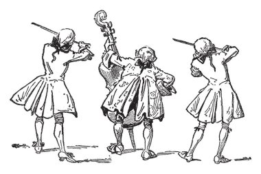 King Cole, this scene shows three fiddlers, two fiddlers playing violins and middle fiddler playing guitar, vintage line drawing or engraving illustration