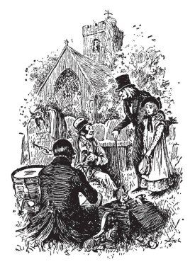 Little Nell, this scene shows two people sitting on ground with box and an old man with little girl asking something to them, house in background, vintage line drawing or engraving illustration
