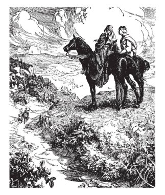 Geraint and Enid, this scene shows a man and woman riding on two horses and talking, vintage line drawing or engraving illustration