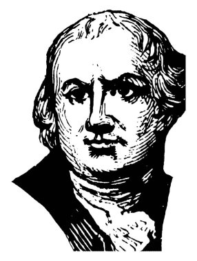 Robert Morris, 1734-1806, he was an American merchant who financed the American revolution and signer of the declaration of Independence representing Pennsylvania, vintage line drawing or engraving illustration