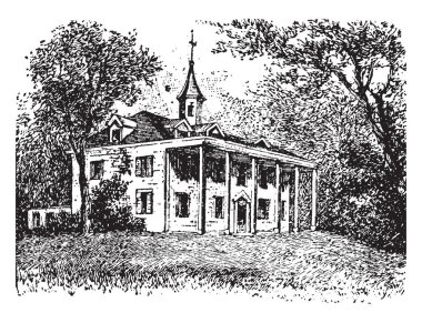 This is the Mount Vernon which is located near what is now Alexandria, Virginia. This is very strong & big house. Several thousand acres of land were included in the original estate, vintage line drawing or engraving illustration.