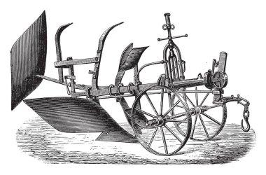 Double plough subsoiler of Bajac-Delahaye, vintage engraved illustration. Industrial encyclopedia E.-O. Lami - 1875