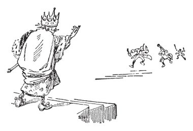 King Cole, this scene shows the king standing on stairs and three little people coming towards the king, vintage line drawing or engraving illustration