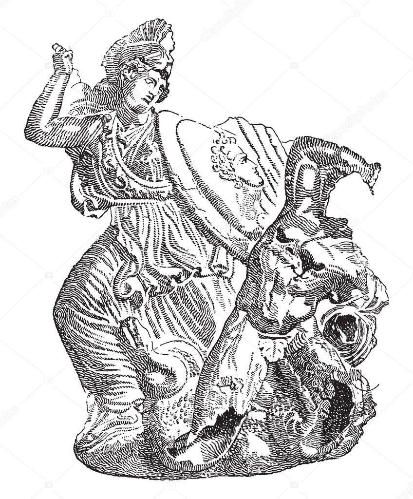 Athena Goddess Wisdom War Hitting Giant One Hand Protecting