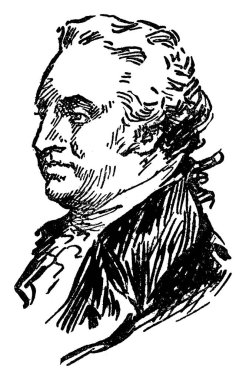 General Anthony Wayne, 1745-1796, he was a United States army officer, statesman and brigadier general, vintage line drawing or engraving illustration