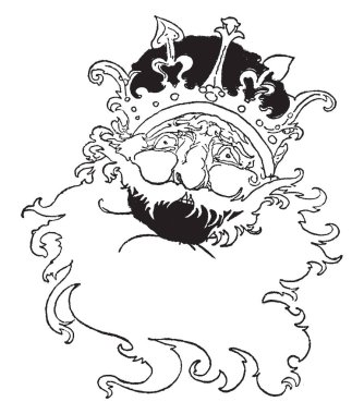 Old King Cole, this picture shows face of the king with crown, vintage line drawing or engraving illustration