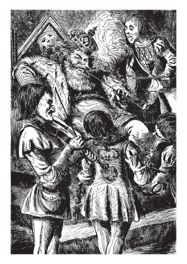 Old King Cole, this scene shows the king sitting on chair and four fiddlers playing violins in front of him, vintage line drawing or engraving illustration