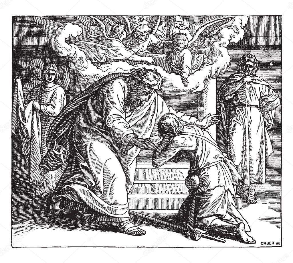 The Return Of The Prodigal Son This Scene A Man Kneeling Down In Front Of Old Man Angels In Background And Three People Looking At Them Shows Vintage Line Drawing Or