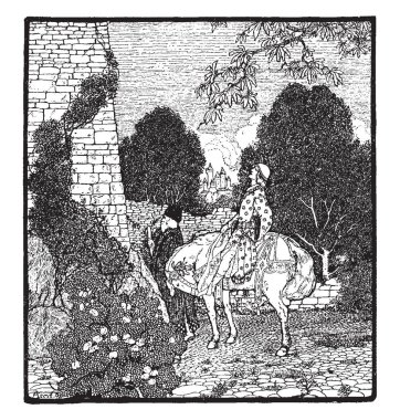 Geraint Hears Enid Singing, this scene shows a man riding on horse and looking at something, an old man walking, trees in background, vintage line drawing or engraving illustration