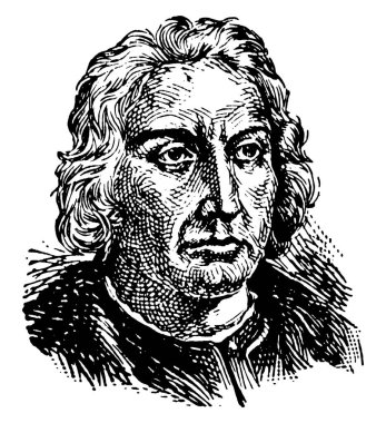 Christopher Columbus, 1451-1506, he was an Italian explorer, navigator, first governor of the Indies, and colonizer who discovered route to the Americas while in search of the Indies, vintage line drawing or engraving illustration