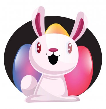Bunny in front of colorful easter eggs illustration web vector o
