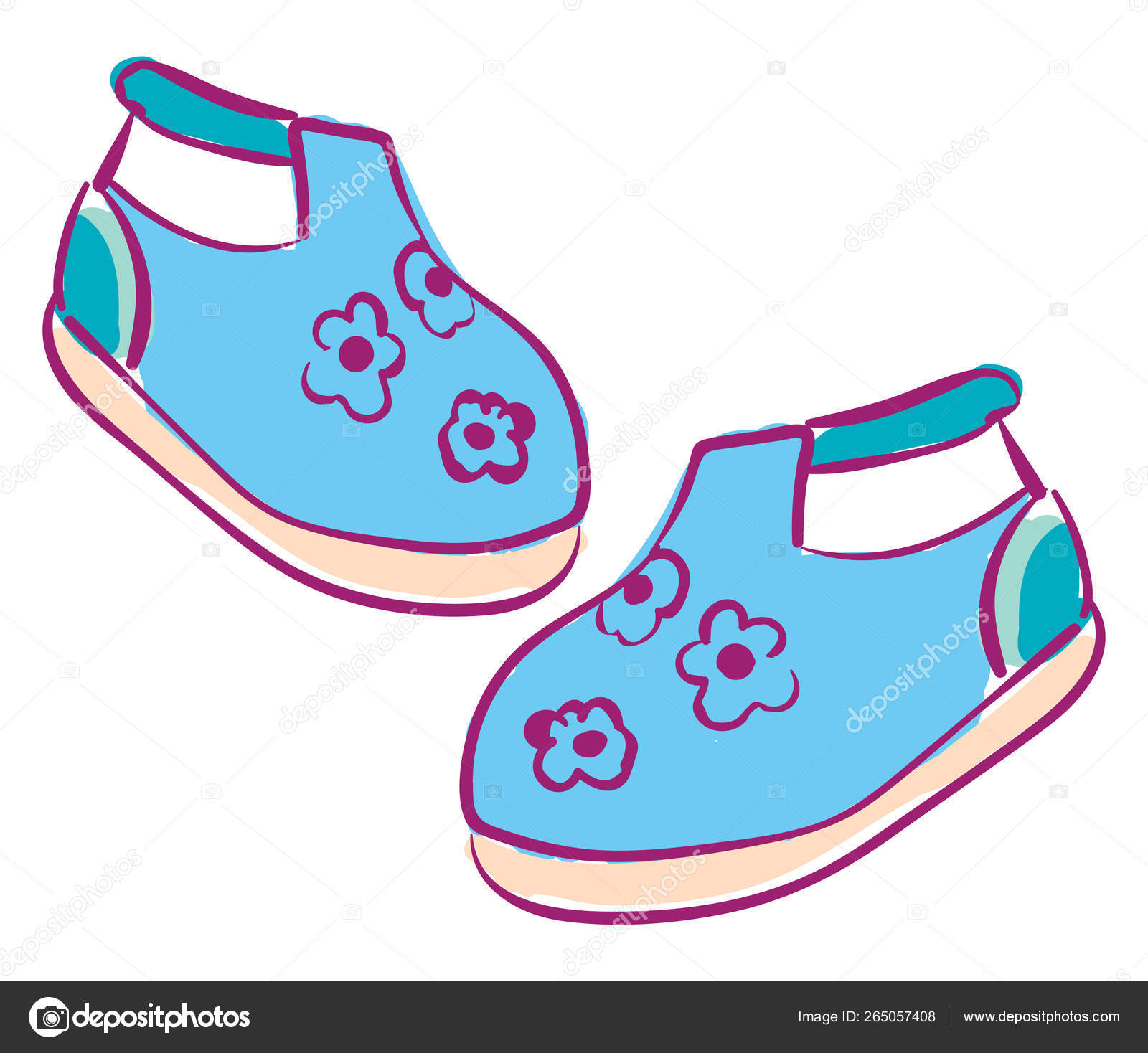 Clipart Baby Shoes Clipart Of A Pair Of Baby S Shoes Vector Or Color Illustration Stock Vector C Morphart 265057408