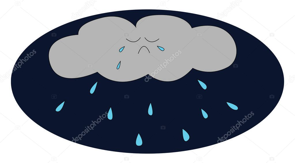 A little crying cloud vector or color illustration