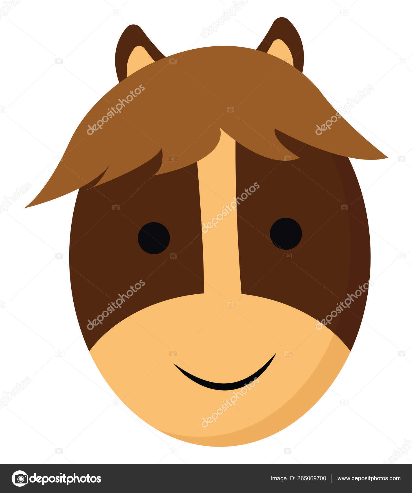 Cartoon Smiling Face Of A Brown Horse Vector Or Color Illustrati