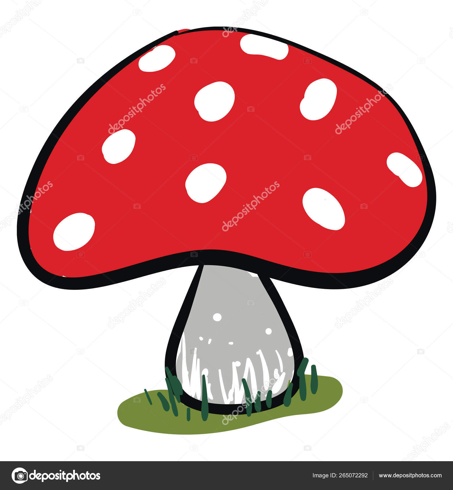 Clipart Of A Red Mushroom Vector Or Color Illustration Stock