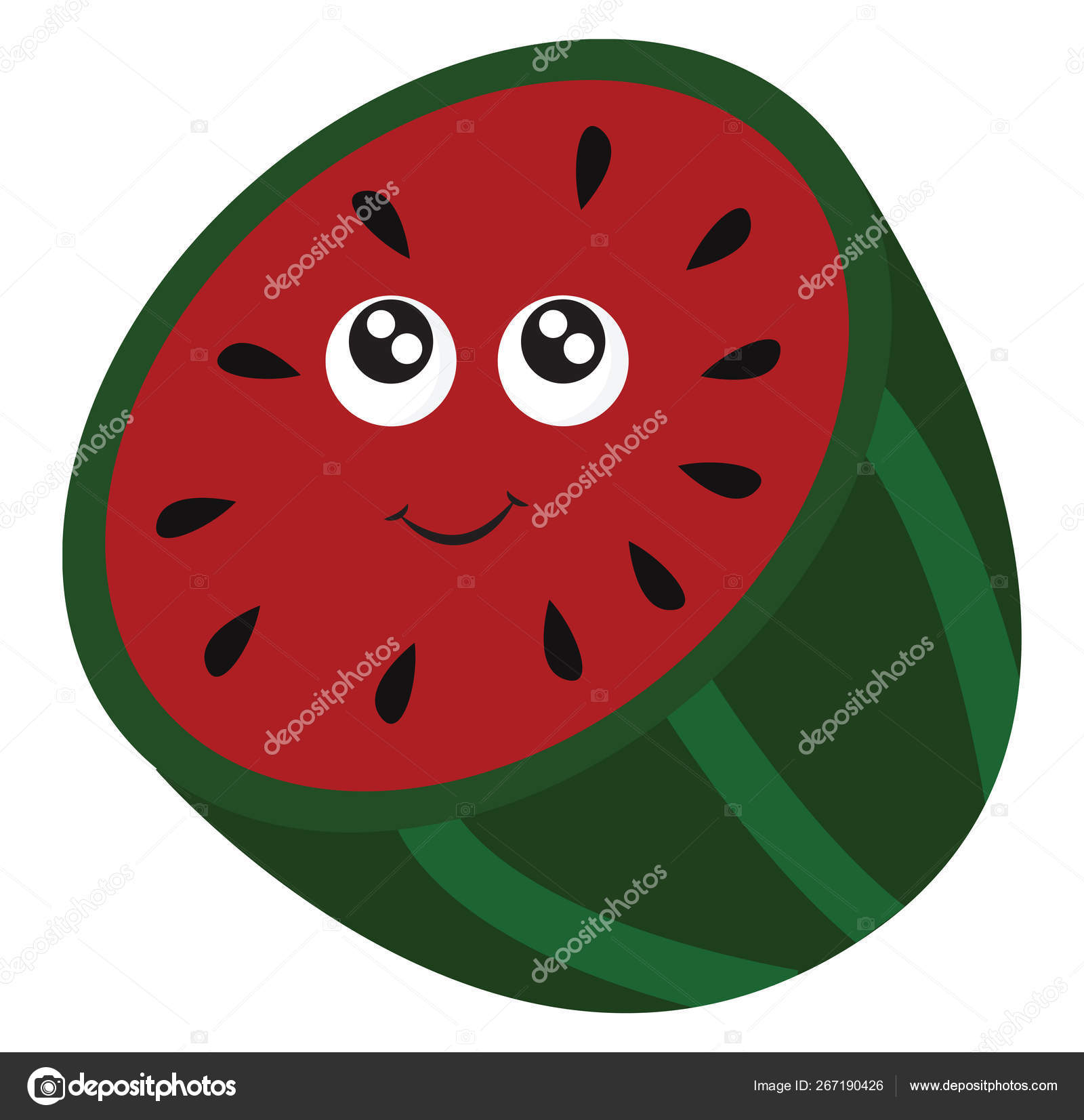 Emoji of the smiling half cut watermelon vector or color