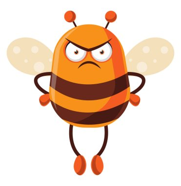 Bee looking mad, illustration, vector on white background.