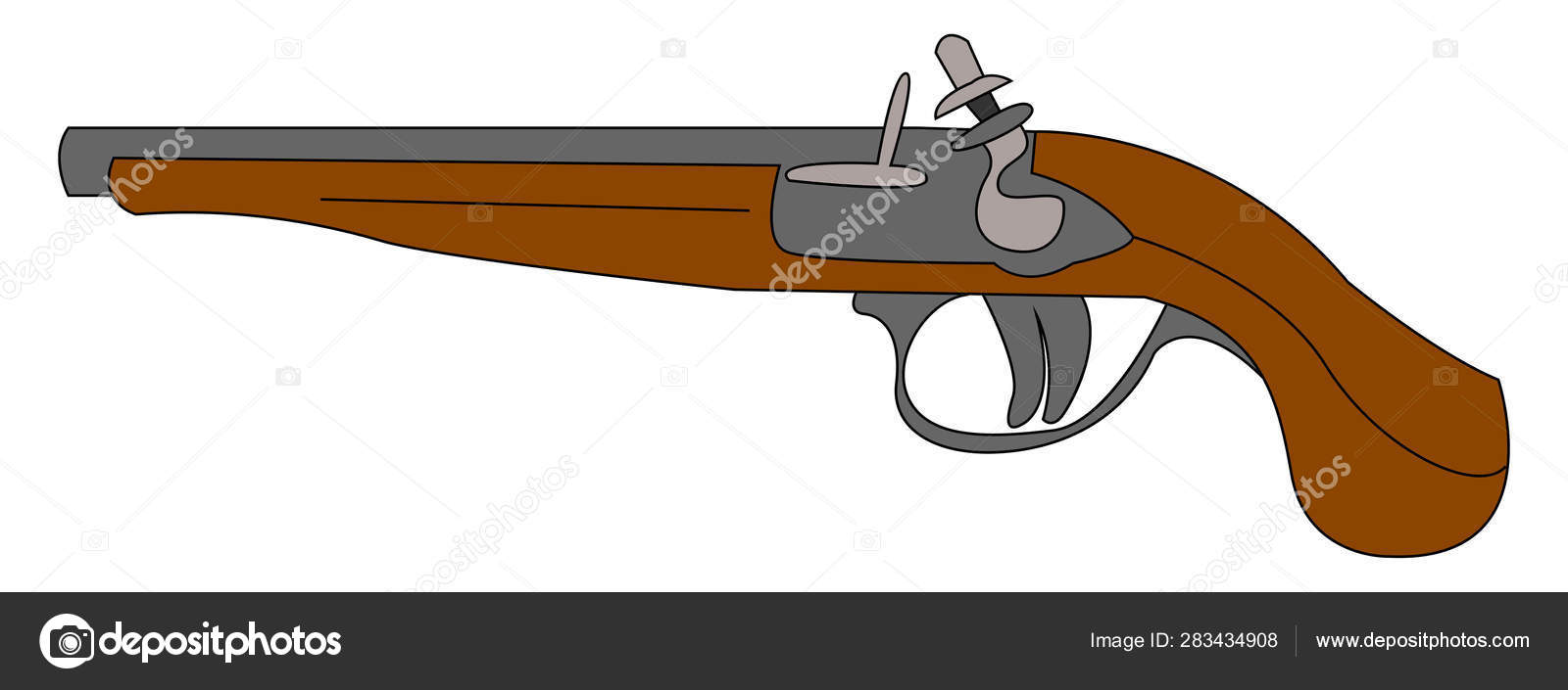 Musket old gun, illustration, vector on white background