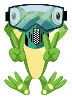 Cheerful frog diving with a diving mask, illustration, vector on