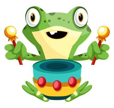 Cheerful, green frog playing drums, illustration, vector on whit
