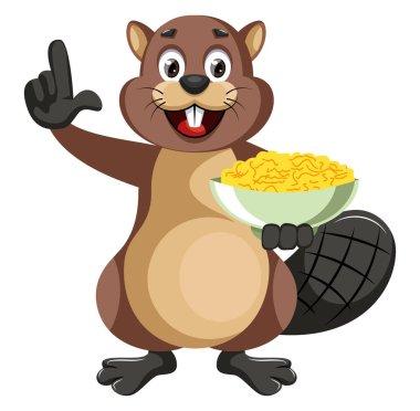 Beaver holding snacks, illustration, vector on white background.