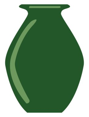 Green vase, illustration, vector on white background.