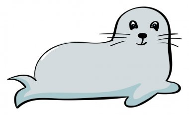 Cute seal, illustration, vector on white background.