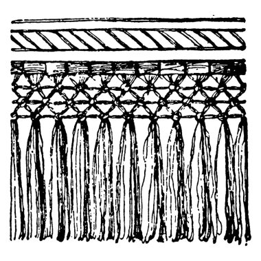 A silver colour hanging textile termination with the lower end ornamentally cut. It is ornamented with cords, tassels and embroidery, vintage line drawing or engraving illustration.