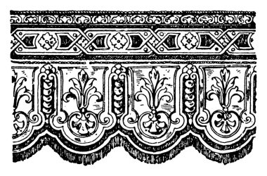 A hanging textile termination with the lower end ornamentally cut. It is ornamented with cords, tassels and embroidery, vintage line drawing or engraving illustration.