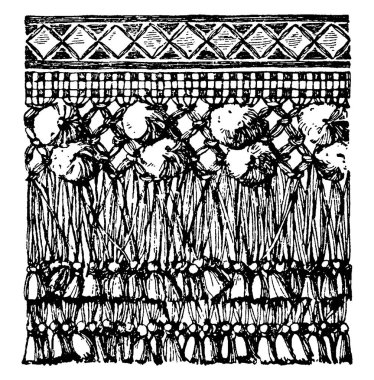 A hanging textile termination with the lower end ornamentally cut. It is ornamented with cords, tassels and embroidery. The upper edge of the valence is generally fixed to moulding, vintage line drawing or engraving illustration.
