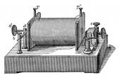 Eine Induktionsspule, empfängt einen großen Strom kleiner elektromotorischer Kraft und liefert einen kleinen Strom bei hohem Druck, Vintage-Linienzeichnung oder Gravierillustration.