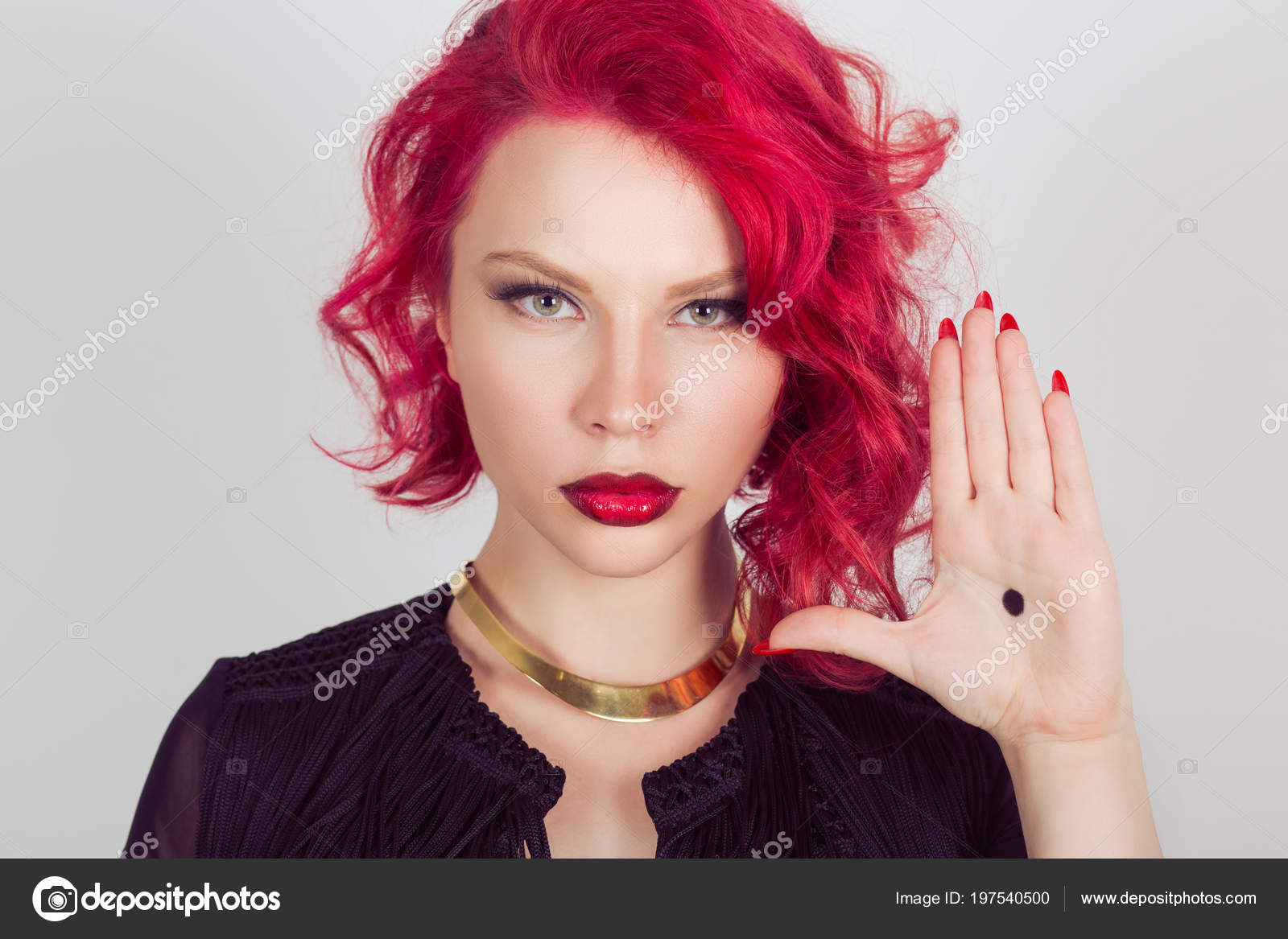 Woman Black Dot Her Palm Give Signal Domestic Violence Red Stock