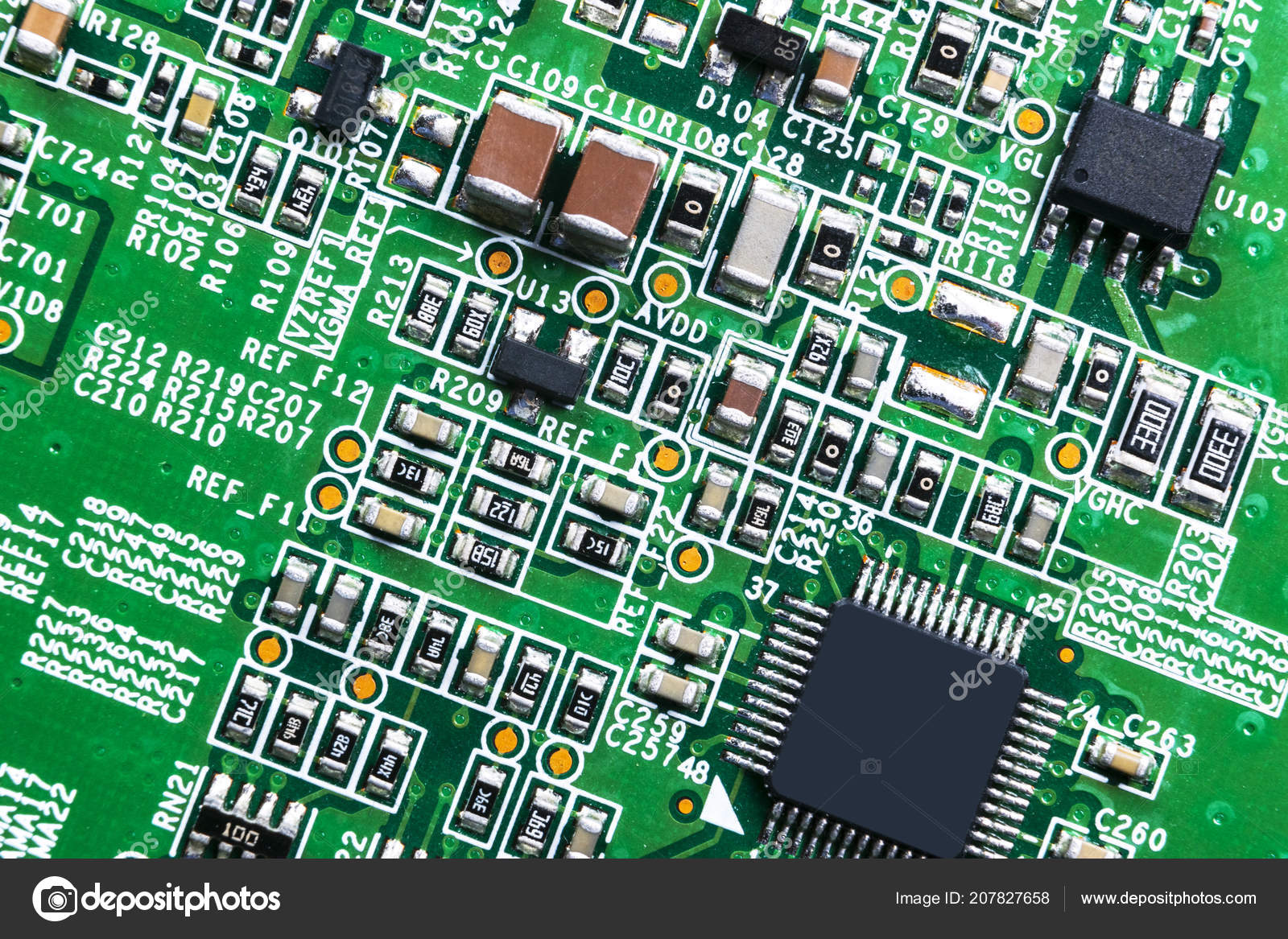 Macro Shot Circuitboard Resistors Microchips Electronic Components Circuit Board Resistor Computer Hardware Technology Stock Photo