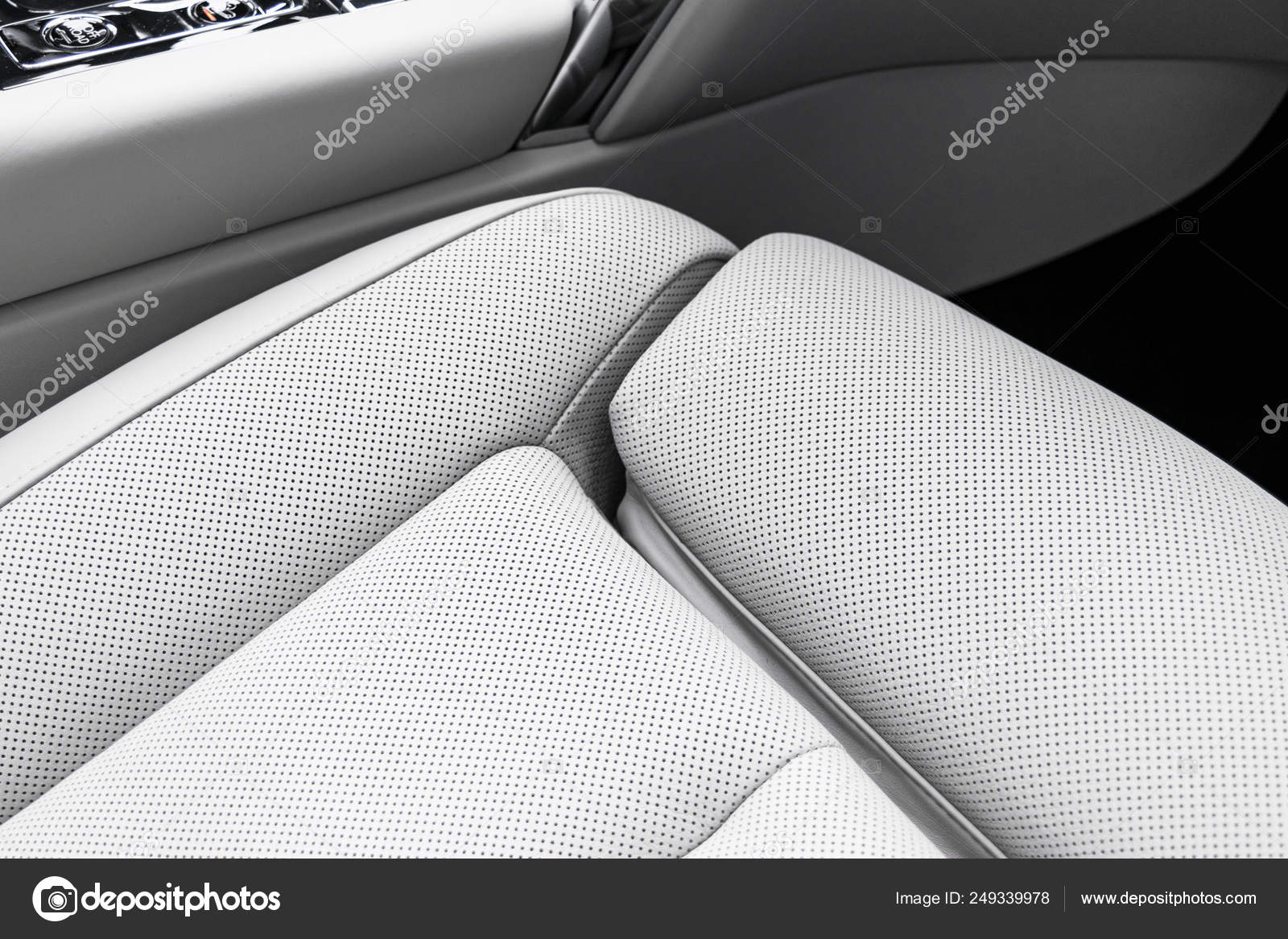Modern Luxury Car White Leather Interior With Natural Wood Panel Part Of Leather Car Seat Details With Stitching Interior Of Prestige Modern Car White Perforated Leather Car Detailing Car Inside Stock