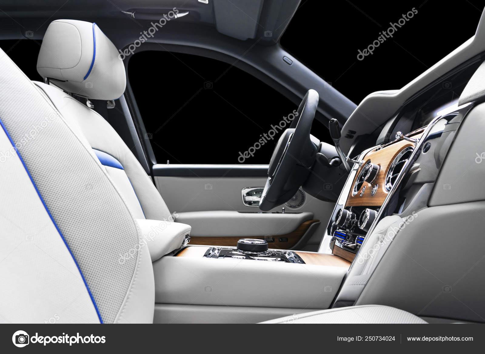 Moderno Carro De Luxo Interior De Couro Branco Com Painel De Madeira Natural Parte Do Banco