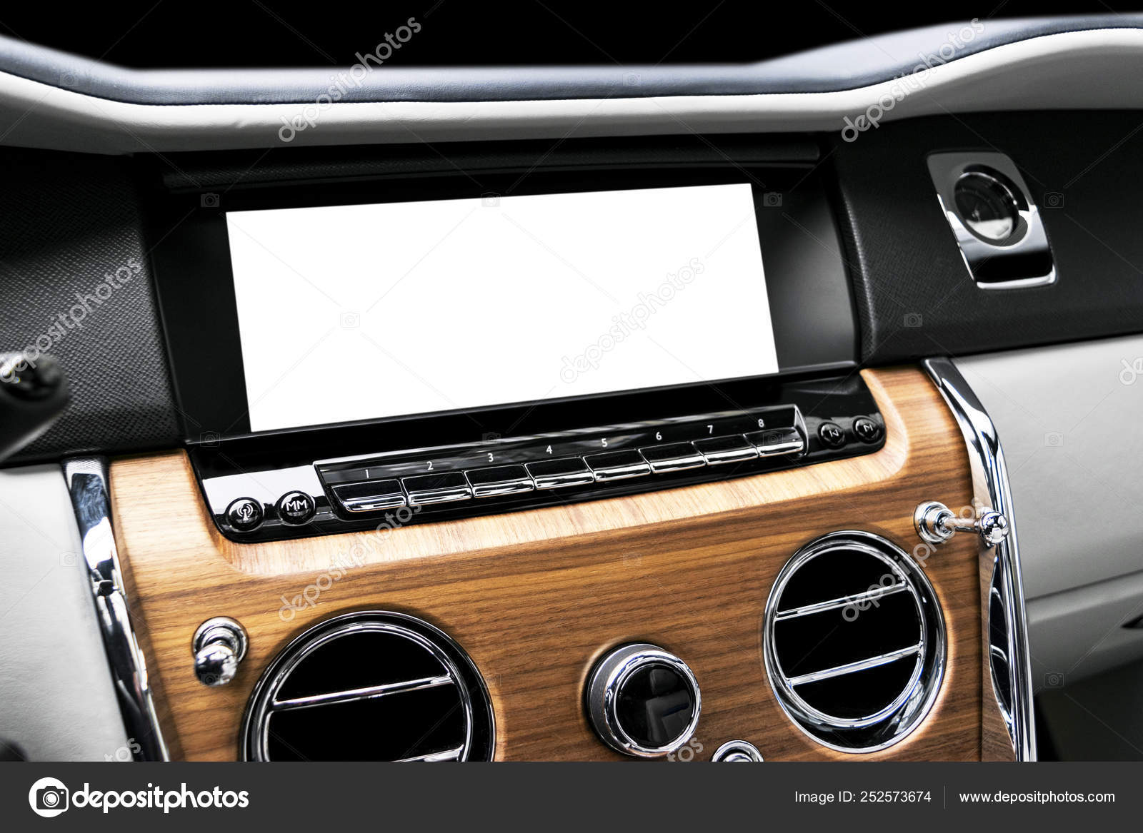 Monitor in car with isolated blank screen use for navigation maps