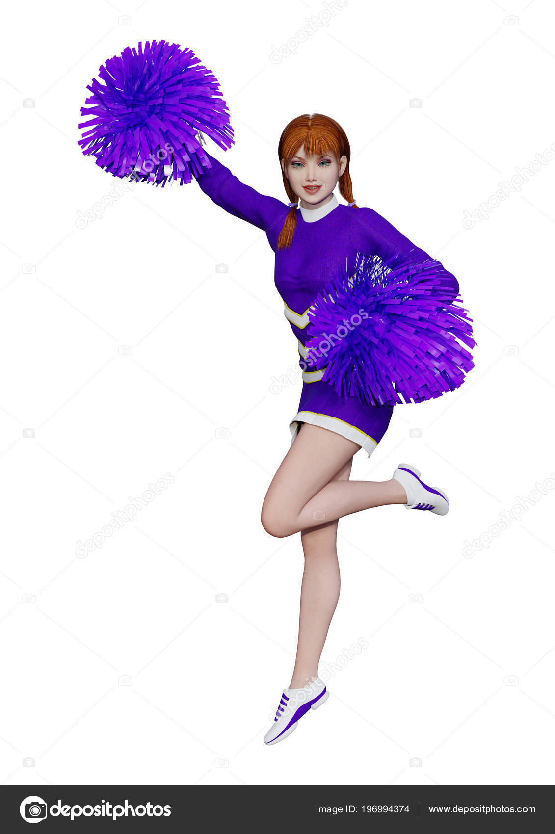 3d Rendering Of A Young Cheerleader With Pompoms Isolated On White Background Photo By