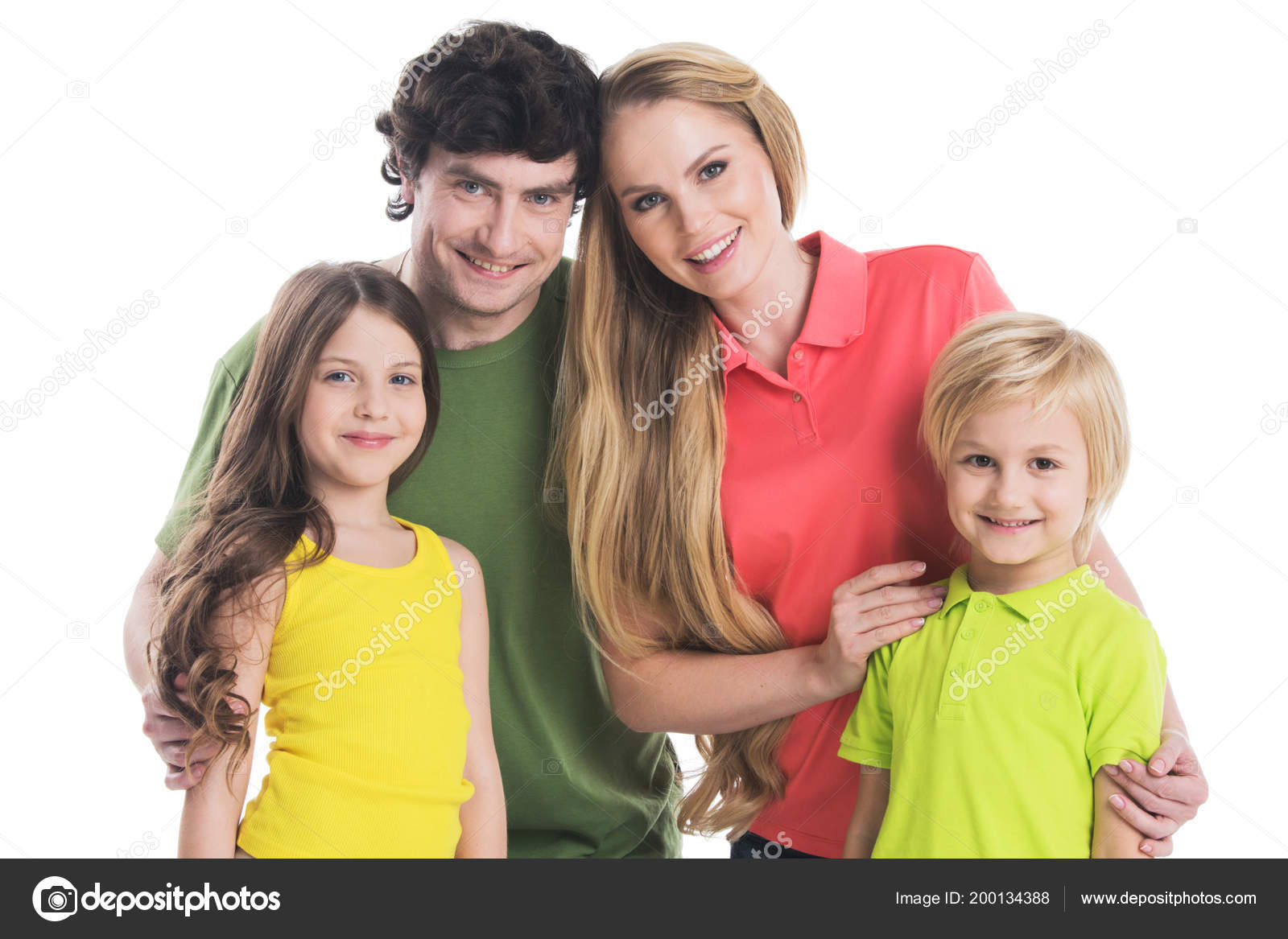 Studio Portrait Family Colorful Clothes Two Children Isolated White ...