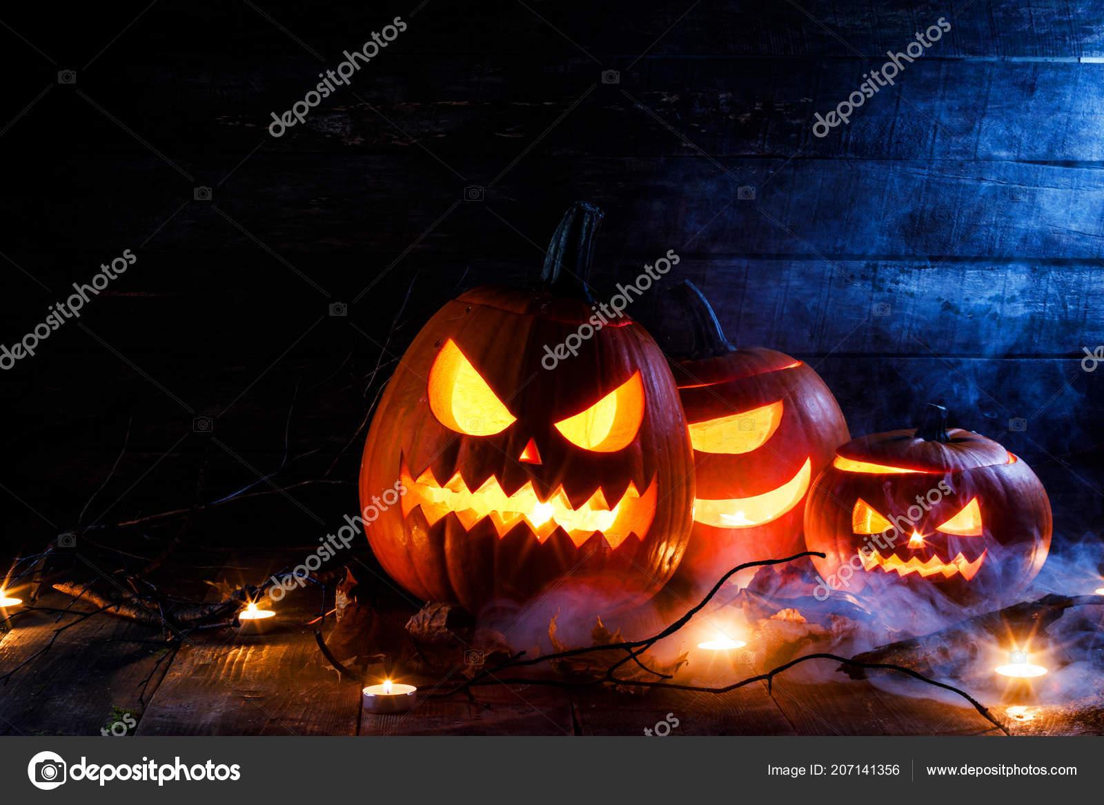 Halloween Pumpkin Heads Jack Lantern Candles Tree Branch