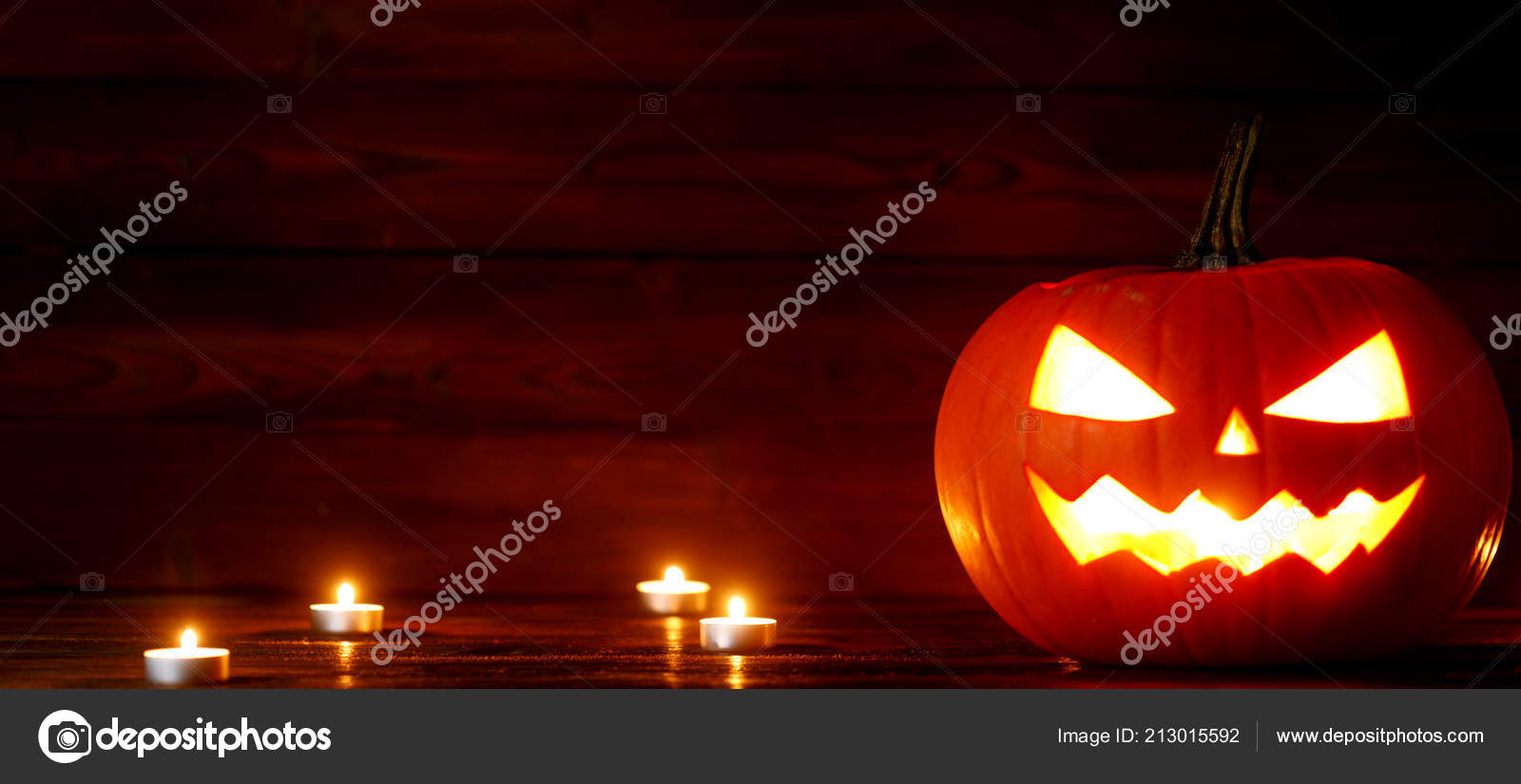 Halloween Kurbis Kopf Jack Laterne Und Kerzen Auf Holzernen