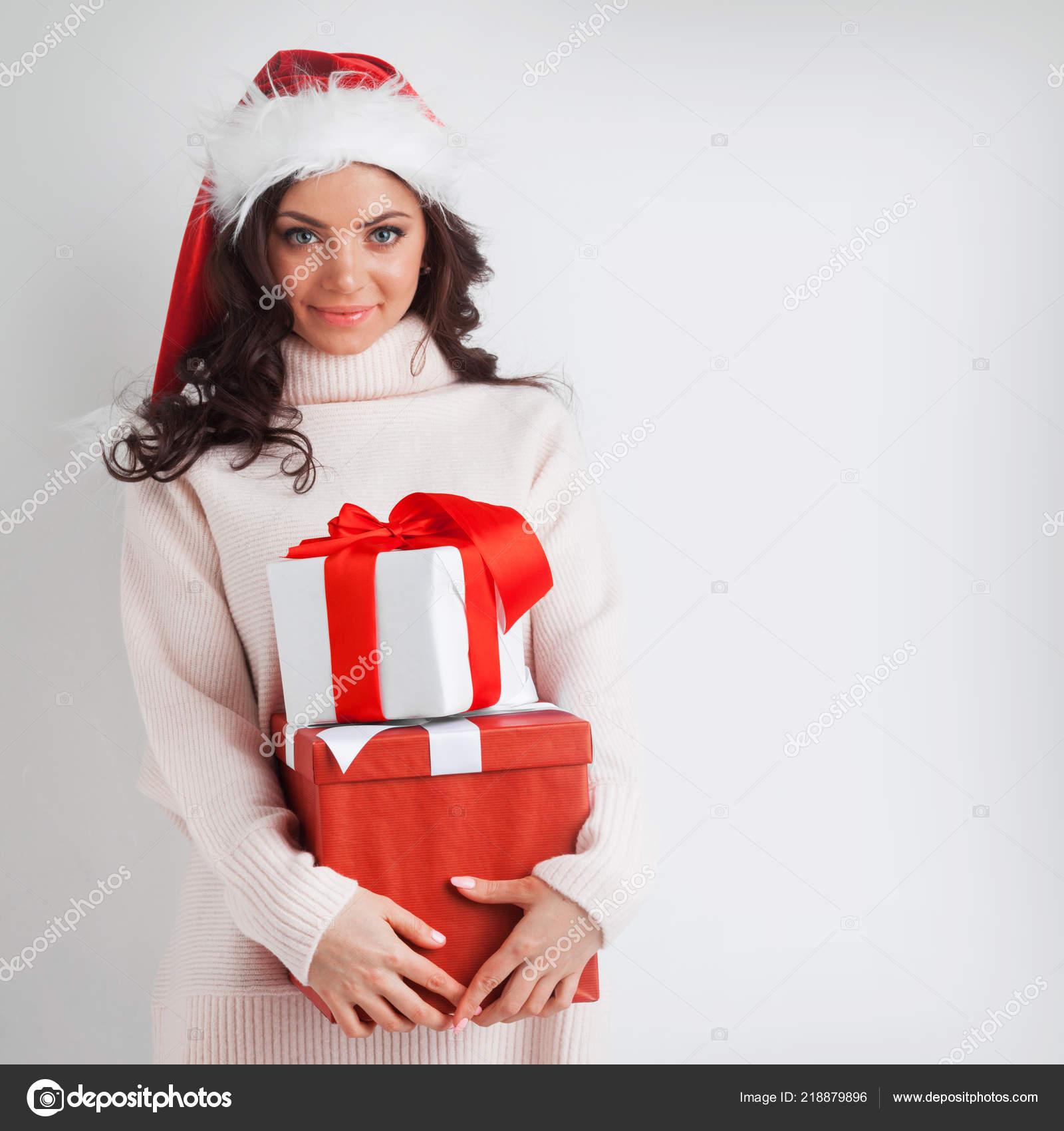 Young Woman Santa Hat Hug Her Christmas Gifts — Stock Photo ...