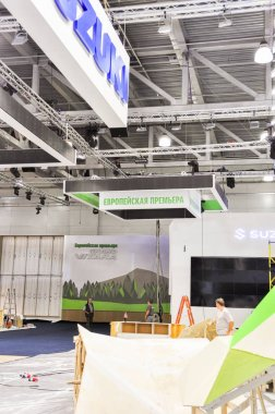 Building/montage/installation of the 4th Moscow International Automobile Salon (MIAS 2012), Russia, Moscow, Expocentre, 29 August - 9 September 2012