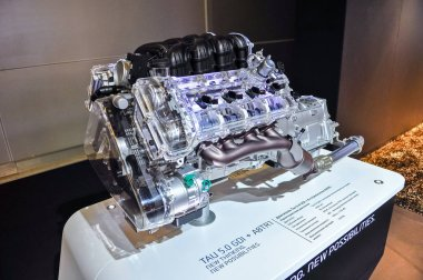 Russia, Moscow, Expocentre, 29 August - 9 September 2012: Hyundai TAU 5.0 GDI engine at 4th Moscow International Automobile Salon (MIAS 2012)